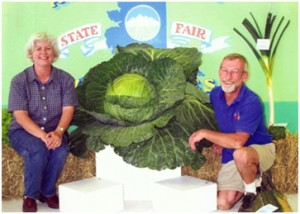 John Evans and wife with giant cabbage grown with ZeoPro (Guinness World record holder for many vegetable categories)